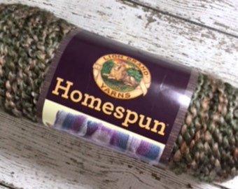 Lion Brand Homespun Yarn Mediterranean 347 Brown Green Bulky Acrylic 6 oz USA Knitting Crochet Supplies Destash New