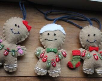 Personalized Gingerbread Boy or Girl Ornament--Wool Felt