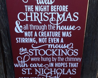Twas The Night Before Christmas Sign Christmas Decorations Sign Christmas Wall Decor Christmas Sign Wood Sign Christmas Decor Sign Red
