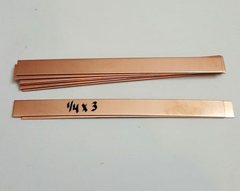 1/4 x 3  -  Rectangle blanks  -22 G -  Hand stamping ring blanks copper