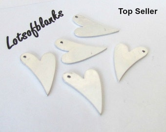 Mini heart Blanks with hole /20G Blanks//Stamping blanks//Metal   blanks//Tumbled blanks//Hand Stamping Supplies//pre punched blanks