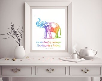 Elephant Quote - Dalai Lama Quote - Watercolor Elephant Print - Elephant Art - Elephant Poster - Watercolor Prints - Nursery Decor