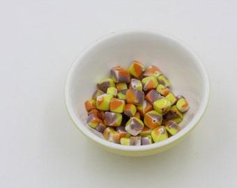 Vintage Purple Orange Yellow Cube Beads