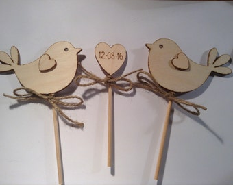 Wedding Cake Topper - Bird Cake Topper - Rustic Cake Topper, Wooden Cake Topper