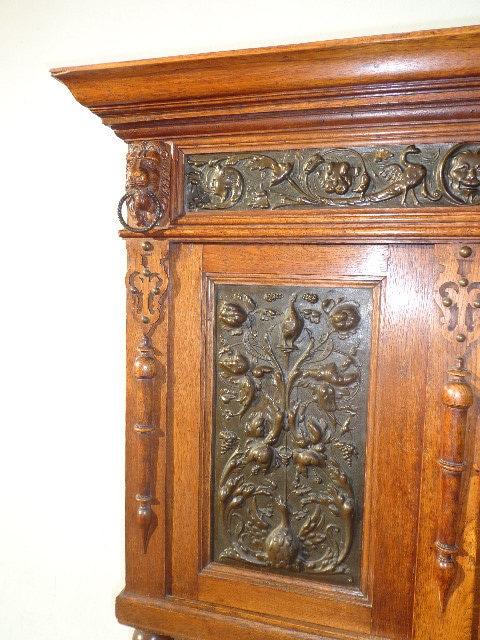Antique Flemish Hutch Cabinet Sideboard Primitive French