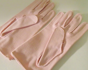 Vintage Pink Wear Right Cotton Gloves with Embroidery Made in U.S. Zone in Germany, size 6 1/2