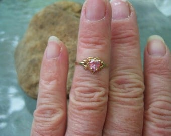 Pink ice (topaz) and 10 kt. yellow gold ring size 5.5