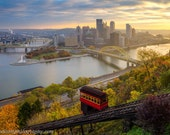 The Usual Haunt Mount Washington Incline Pittsburgh Skyline Sunrise Photo, Matted or Metal Print - Fountain Photograph Picture