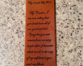 Leather book mark with the 7th step prayer, leather marker, aa recovery, alcoholic anonymous