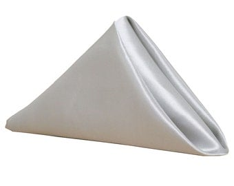 Silver Napkin for Weddings Pack of 10 | Wholesale Satin Napkins