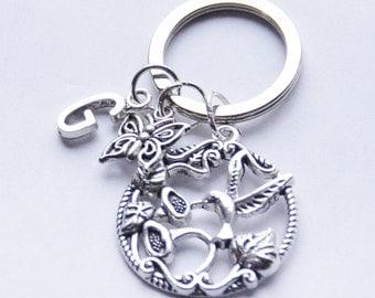 Hummingbird Key Chain Personalized Key Chain Silver Initial Key Chain Bird Key Ring Butterfly Keychain Handmade Key Fob Gift Bridesmaid Gift