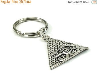 On Sale Pyramid Key Chain Egyptian Style Silver Metal Key Ring