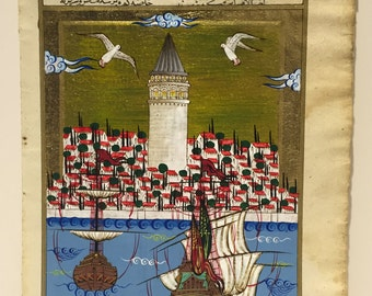 Galata Tower Miniature Painting