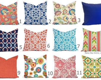 Custom Outdoor Indoor Pillow Cover sizes include 16x16, 18x18 - Shades of Coral Blue Aqua Navy Modern Geometric Print Tribal Floral