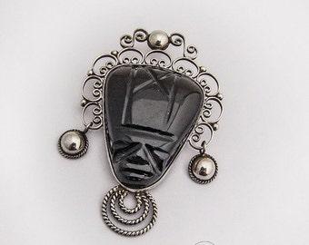 SaLe! sALe! Large Aztec Obsidian Brooch Tribal Face Sterling Silver