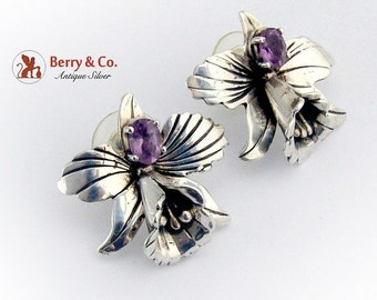 SaLe! sALe! Vintage Flower Amethyst Earrings Sterling Silver