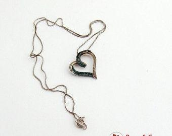 SaLe! sALe! Figural Curly Heart Pendant Chain Necklace Toraz CZ Sterling Silver