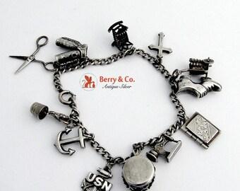 SaLe! sALe! Vintage Charm Bracelet Sterling Silver 1930s