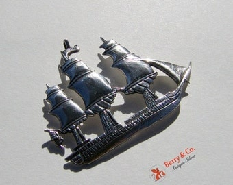 SaLe! sALe! Vintage Ship Pendant Sterling Silver Hand Made