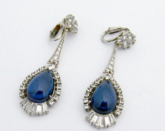 SaLe! sALe! Costume Dangle Earrings Blue Sapphire Glass Sterling Silver