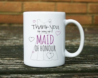 Hand Designed MAID OF HONOUR wedding mug gift idea for a thank you present