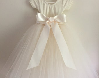 Tulle Flower Girl/ Party Dress, Ivory Tulle with Ivory Short Sleeved Leotard, Ivory Satin Sash