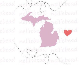 Michigan State SVG Digital cut files - Long Distance Relationship - Use with Cricut or Silhouette Studio