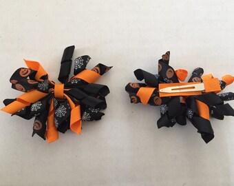 """Set of Orange and Black Halloween Korker Hair Clips 3"""" Pumpkins and Spider Webs"""