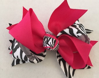 Pink, white, and Black Zebra Hair Bow on Hair Clip 3 1/2""