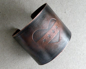 Chicago Heart Etched Copper Cuff