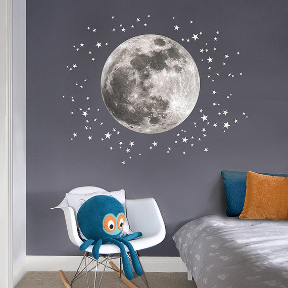 Moon stars fabric wall decal for the nursery and for Amazing look with moon and stars wall decals