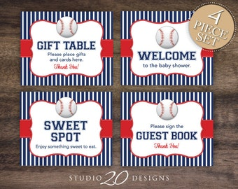instant download baseball baby shower signs 8x10 gift table blue red baseball welcome sign