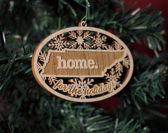 Engraved Tennessee Wood Christmas Ornament