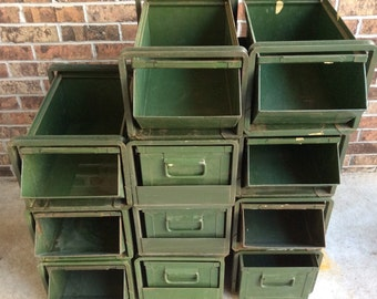 Large Industrial Green Metal Stackable Bins