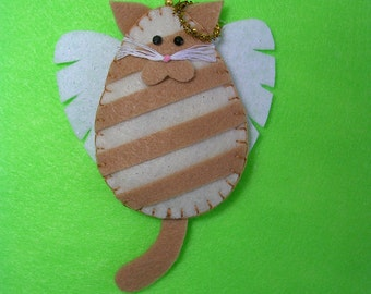 Kitty Cat Angel Ornament - Marmalade, Orange or Ginger Striped Tabby (Light Shade)