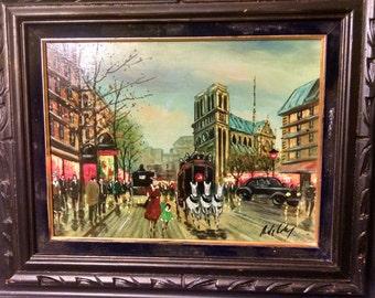 Vintage Oil on Canvas Parisian Street Scene Cityscape Painting by Listed Artist Antonio Devity (1901-1993)