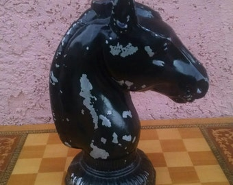 Vintage Cast Metal Horse Head Statue Lamp Base