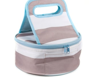 Monogrammed Round Casserole Carrier | Taupe and Sky Blue