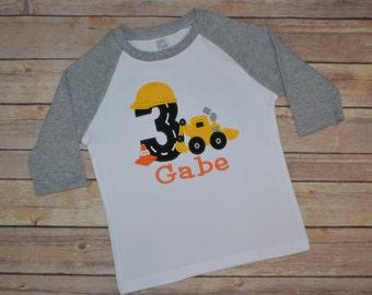Construction birthday shirt, digger birthday shirt, excavator birthday shirt, backhoe birthday shirt, toddler birthday party, boy birthday