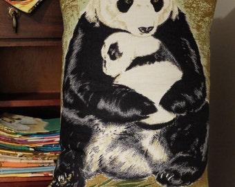 Vintage Pandas Tea Towel Cushion