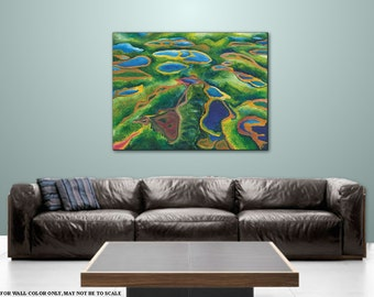 Art Home Decor Contemporary landscape Wall art, Blue Green painting Abstract expressionism, Artwork on Plexiglass Title: Field of Lakes