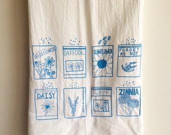Flower Seeds Tea Towel, Screen Printed Flour Sack Towel