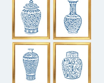 blue and white ginger jar digital art print instant download blue and white chinoiserie