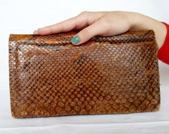 Vintage brown python snakeskin boho bag/python leather purse/python clutch/puthon crossbody/vintage python snakeskin 1970s