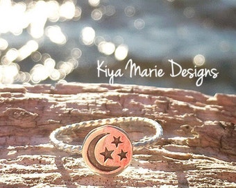 Star and moon ring, night sky ring, Skinny band stack ring, Sterling Silver Argentium Silver Stack Rings, moon star rings