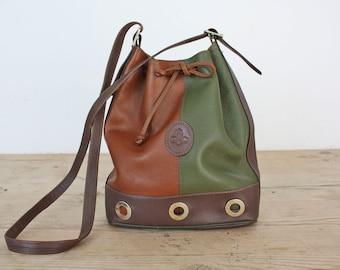 80s French Leather Drawstring Bucket Bag, Two Tones Shoulder Bag