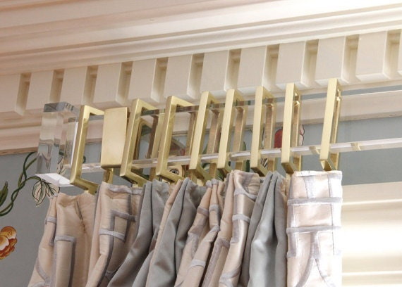 Rectangular Lucite Finial For Curtain Rod Pair