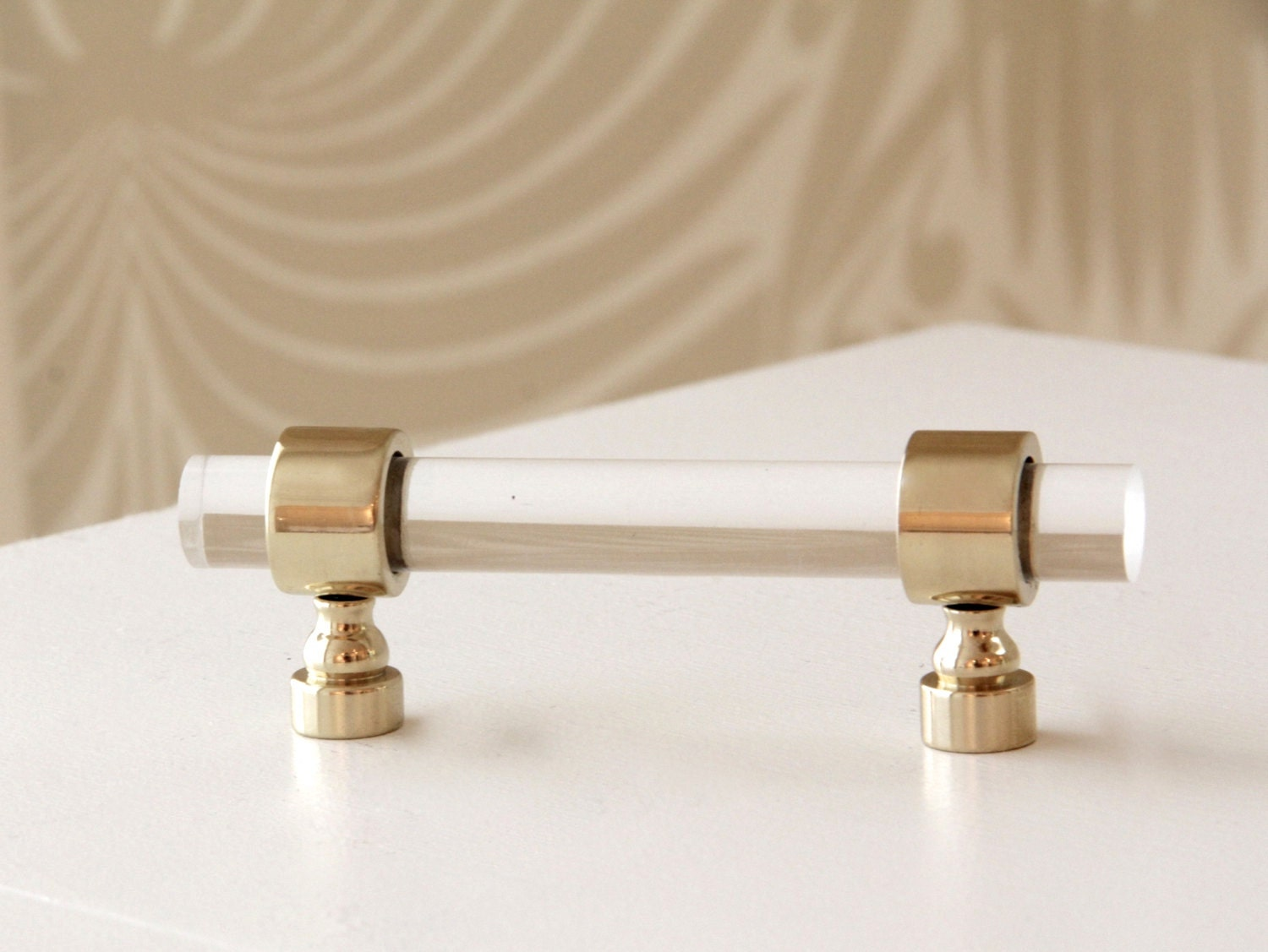 12 Dia Polished or Satin Brass Drawer Pulls Lucite