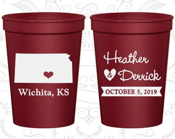 Kansas Wedding Cups, Kansas Wedding, Personalized Cups, Destination Wedding, State Cups, Plastic Party Cups (115)