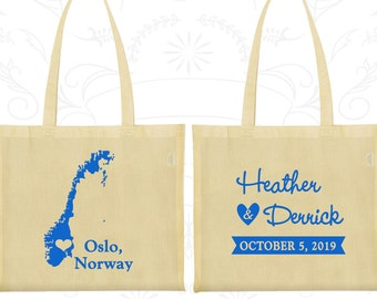 Norway Tote Bags, Norway Wedding, Printed Cotton Tote Bags, Destination Wedding Bags, Tote Bag Wedding, Oslo Tote Bags (186)
